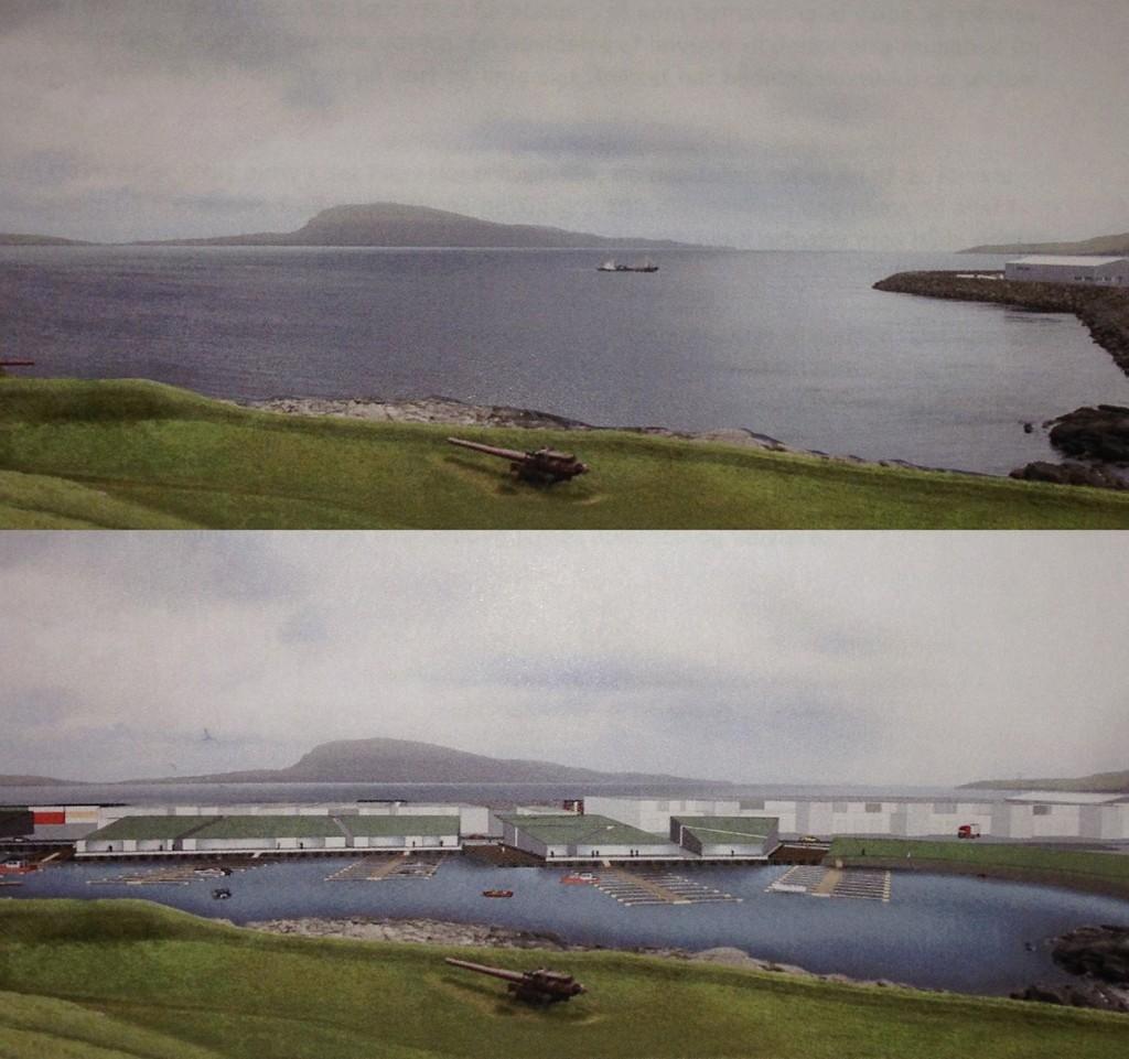 Niðara myndin er tann vakra útgávan av tí sum Tórshavnar havn og Tórshavnar kommuna ætla. Veruleikin verður munandi ljótari, við tornum her og har, og høgum rustaðum bingjustáplum.